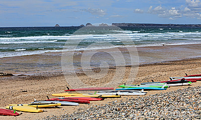 Surf Boards on a Beach in Brittany, France