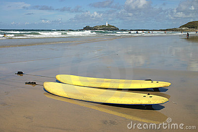 Surf boards on Gwithian Towans