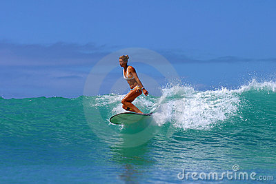 Surf Girl, Brooke Rudow Surfing Hawaii Editorial Stock Photo