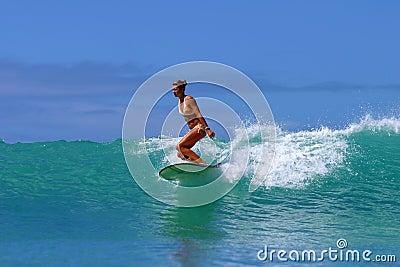 Surf Girl, Brooke Rudow Surfing Hawaii Editorial Stock Photo