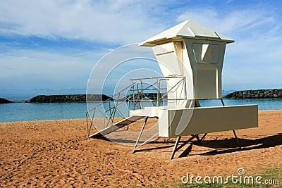Surf lifeguard tower at Ala Moana Park, Honolulu.