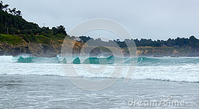 Surf at mouth of Big river in Mendocino county, California, USA.