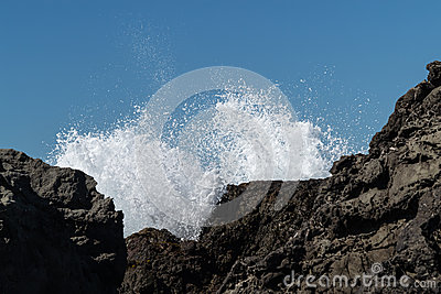 Surf over the rocks