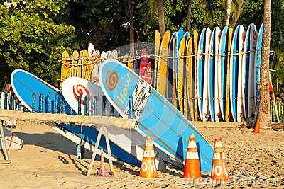 Surf rental shop on Waikiki beach on Hawaii Editorial Photo