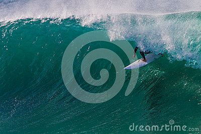 Surf Rider Blue Tube Riding Editorial Photography