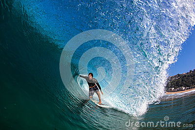 Surf Rider Hollow Wave Water Photo Editorial Image