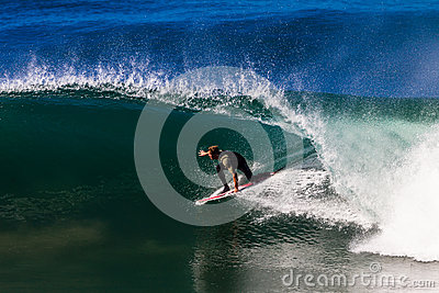 Surfing Riding Hollow Wave Editorial Stock Image