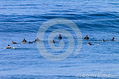 Surf Riders Waiting Swells Editorial Stock Photo