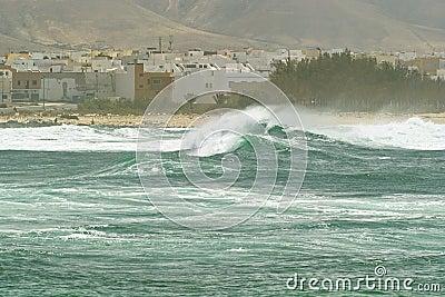 Surf roller wave near the beach