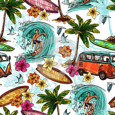 Free Surf Seamless Pattern Stock Photos - 57282843