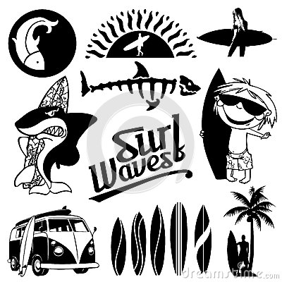 Free Surf Silhouette Collection 1 Royalty Free Stock Photo - 66205745