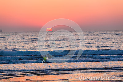 Surf-Ski Canoe Paddling Sunrise Editorial Image
