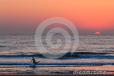 Surf-Ski Canoe Ocean Sunrise Editorial Photo