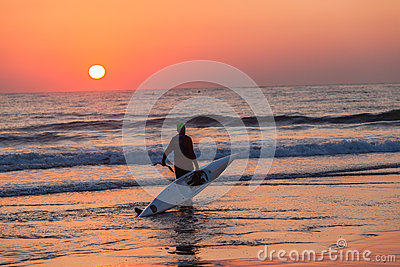 Surf-Ski Canoe Paddler Ocean Sunrise Editorial Photo