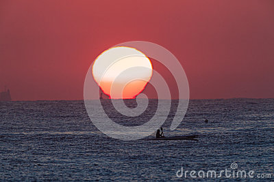 Surf-Ski Paddler Sunrise Ocean Editorial Photography
