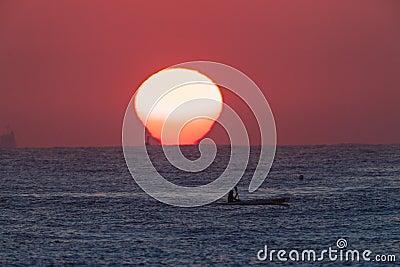 Surf-Ski Paddler Sunrise Ocean Editorial Photography