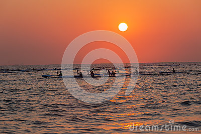 Surf-Ski Paddlers Training Sunrise Ocean Editorial Stock Image