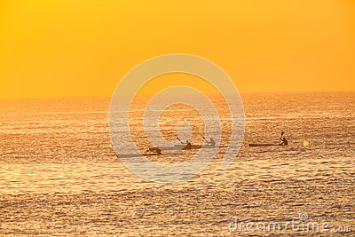 Surf-Ski Canoe Paddlers Four Ocean Training Sunris Editorial Photography