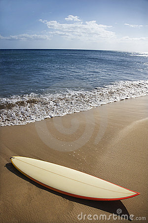 Surfboard on Maui beach.