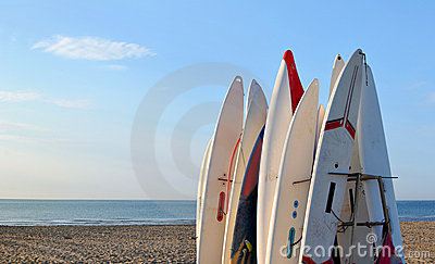Surfboards awaiting fun in the sun on a beach