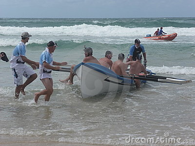 Surfboat Awaiting Race Editorial Stock Image