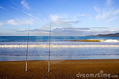 Surfcasting Rods at Taipa Beach