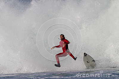 Surfer Air Wipe Out Crash Exit Editorial Image