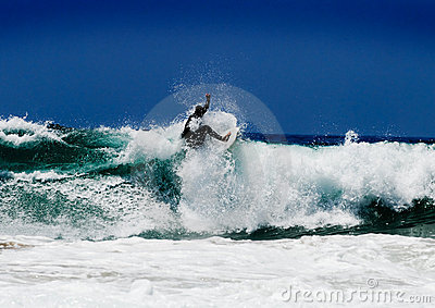 Surfer on an amazing wave