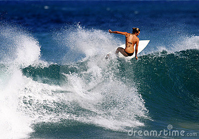 Surfer Anna Fry Surfing in Hawaii Editorial Stock Photo