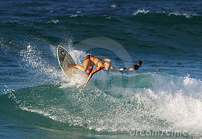 Surfer Bethany Hamilton Surfing in Hawaii Editorial Stock Image