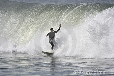 Surfer with a big wave