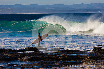 Surfer Board Rocks Waves Timing Editorial Stock Photo