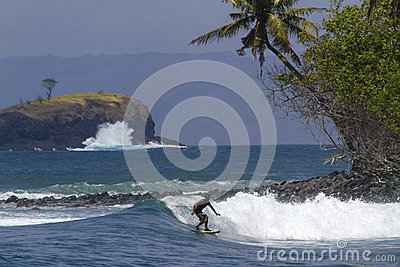 Surfer catch the wave