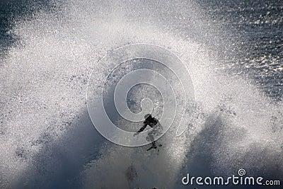 Surfer Caught in Big  Ocean Waves