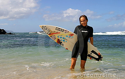 Surfer Cecilia Enriquez with Surfboard Editorial Stock Image