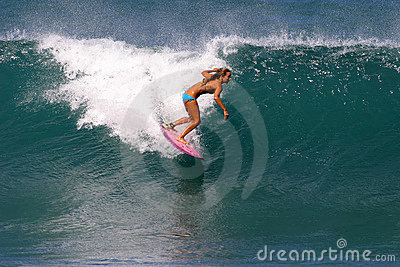 Surfer Cecilia Enriquez Surfing in Hawaii Editorial Photography