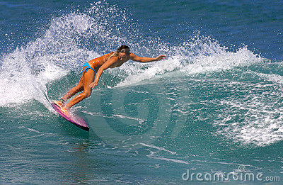 Surfer Cecilia Enriquez Surfing in Hawaii Editorial Stock Photo