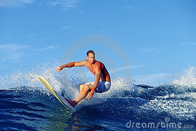 Surfer Chris Gagnon Surfing in Waikiki Hawaii Editorial Photo