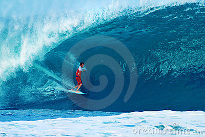 Surfer Damien Hobgood Surfing Pipeline in Hawaii Editorial Photo