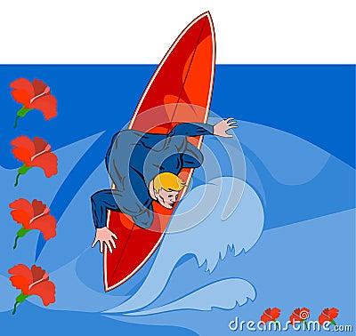 Surfer dude riding wave