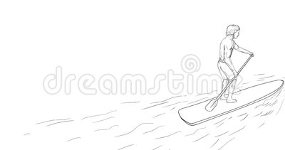Surfer Dude Stand Up Paddle 2D Animation Stock Video