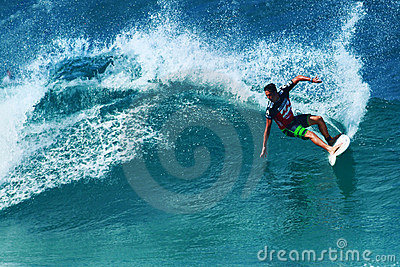Surfer Evan Valiere Surfing Pipeline in Hawaii Editorial Stock Photo