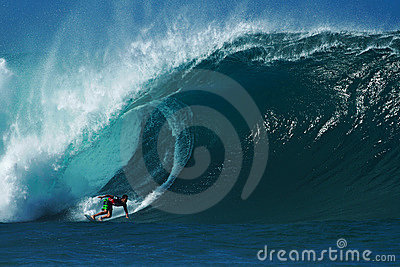 Surfer Evan Valiere Surfing Pipeline in Hawaii Editorial Photo