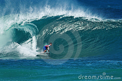 Surfer Gabriel Medina Surfing Pipeline in Hawaii Editorial Image