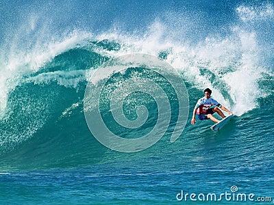 Surfer Gabriel Medina Surfing Pipeline in Hawaii Editorial Stock Photo