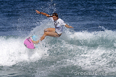 Surfer Girl Coco Ho Surfing in Haleiwa Hawaii Editorial Image