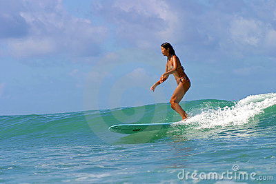 Surfer Girl Grace Lo at Queens Beach in Hawaii Editorial Image