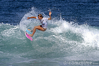 Surfer Girls Coco Ho Surfing in Haleiwa Hawaii Editorial Photography