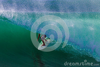 Surfer Hollow Wave Skill Ride Editorial Photo