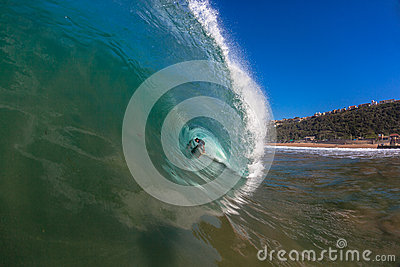 Surfer Inside Large Wave  Editorial Photo
